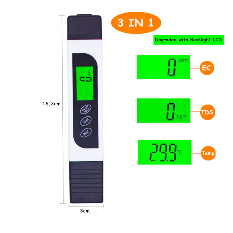 TDS EC Meter Temperature Tester pen 3 In1 Funkce Vodivost Měření - Měřicí přístroje - Fotografie 2