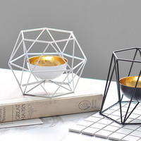 Nordic Simple Creative Iron Candleholder Hollow Out Home Decorations Geometric Candlestick Morocco Lantern Candleholder