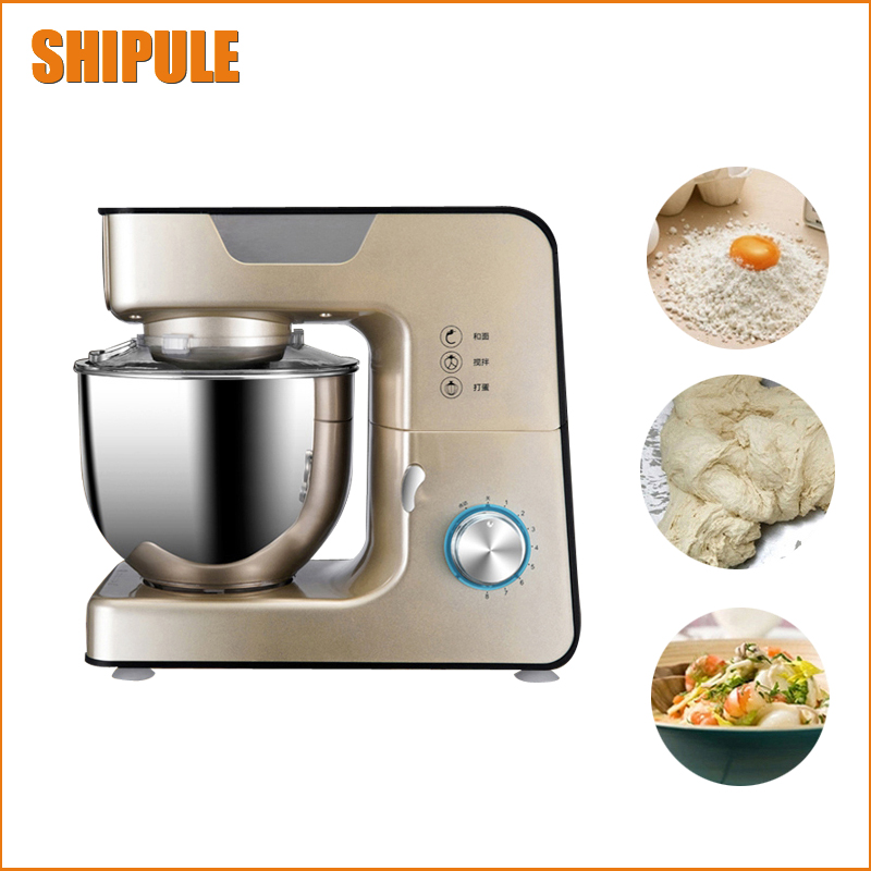 free ship commercial 220V Stainless Steel 5.5L dough mixer 8 gear 1000W power flour mixer 8 speed dough mixer with eggbeater