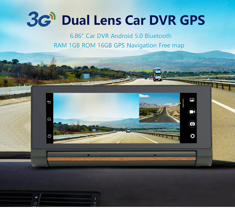"Junsun E27 Car DVR Camera 6.86"" Android GPS 3G Dash Cam Video Recorder With Rearview Cameras Registrator FHD 1080p Black Box 2"