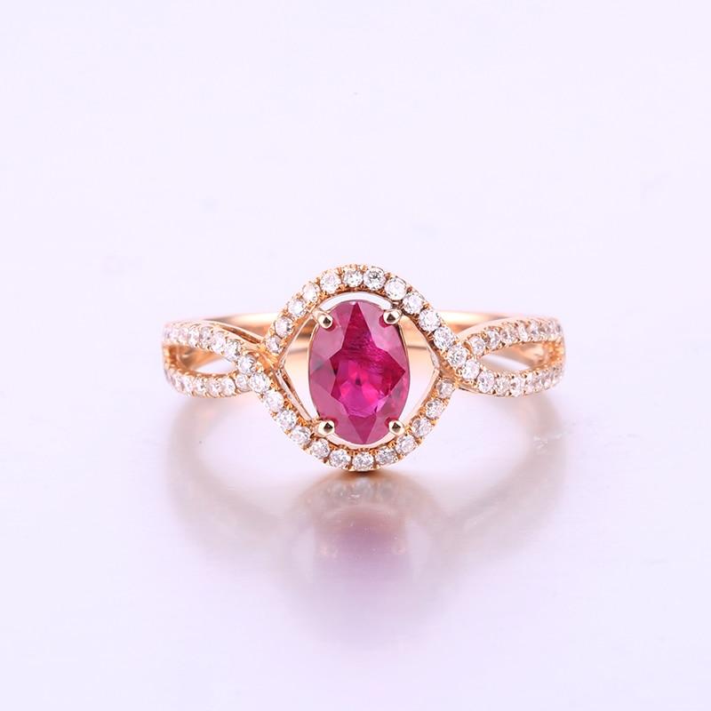 Robira Новая мода Природный Рубин алмаз обручальное кольцо Настоящее 18 К розовое золото Кольца для Для женщин оптовая продажа свадебных Обруч...