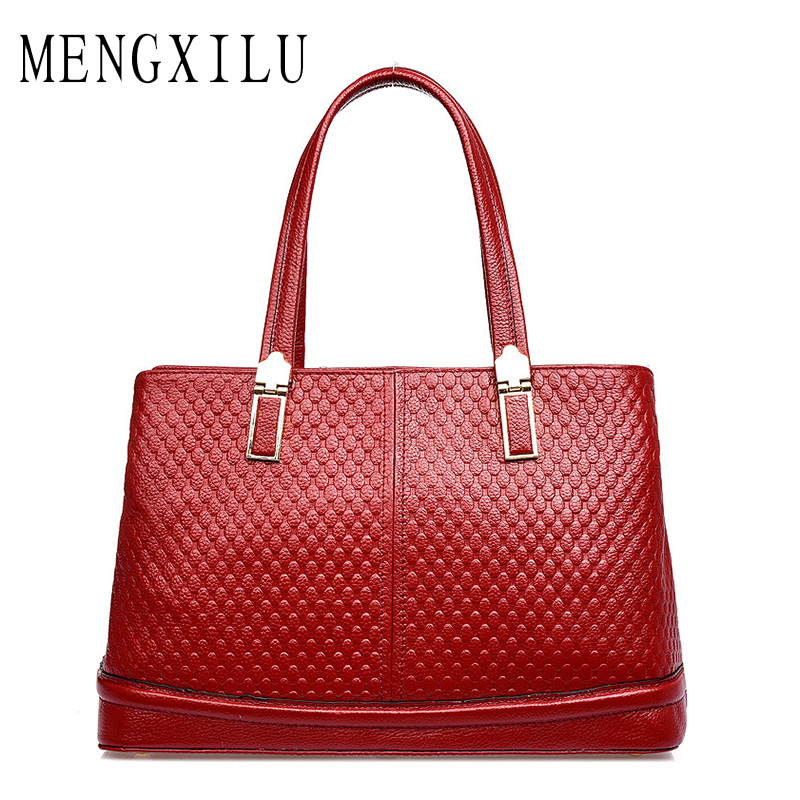 MENGXILU Brand Genuine Leather Bags For Women Luxury Handbags Women Bags Designer Cowhide Shoulder Bag Ladies 2018 Sac A Main fashion luxury handbags women leather composite bags designer crossbody bags ladies tote ba women shoulder bag sac a maing for