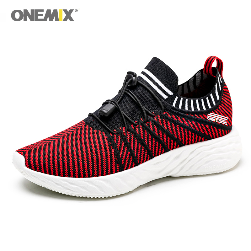 ONEMIX Running Shoes For Men Light Weight Wearable Red Sport Shoes Slip On Sneakers Outdoor Travel Walking Jogging Footwear