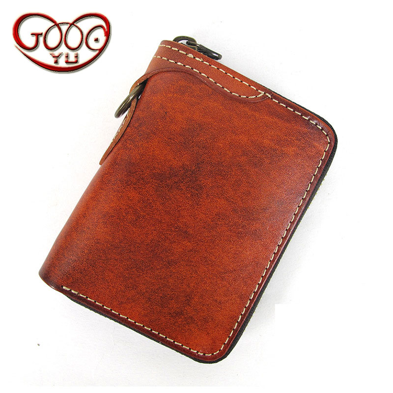 Casual short section of the retro handmade leather wallet vertical square vegetable tanned leather zipper multi-card bit small c