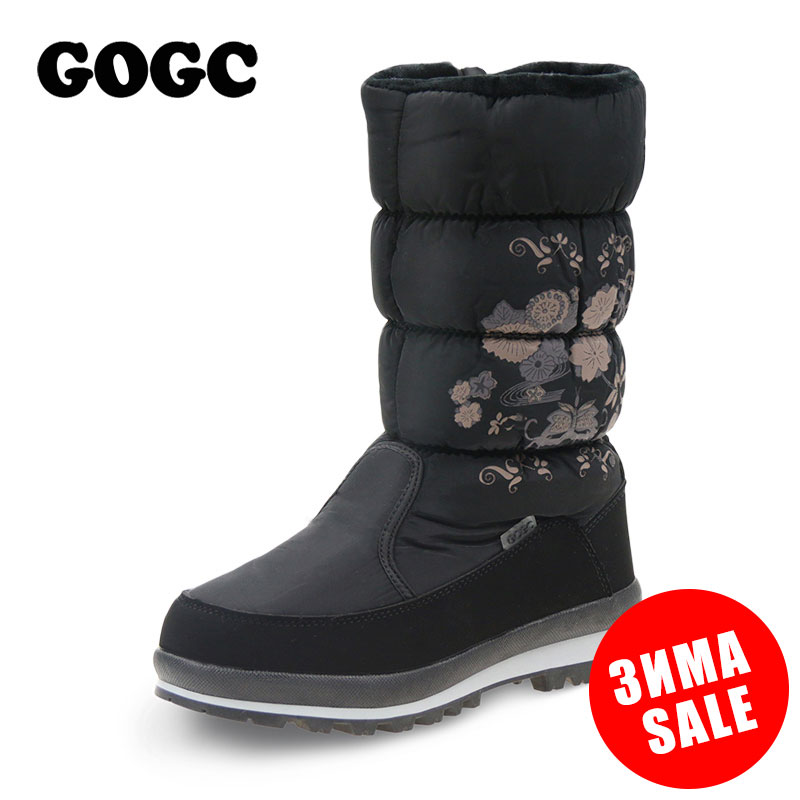 GOGC 2018 New Arrial Women s Winter High Boots Shoes Comfortable Flower Floral Women s Boots