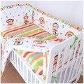 Promoción! 6 unids animales bebé lecho 100% algodón Crib Bedding Set ( bumpers + hojas + almohada cubre )