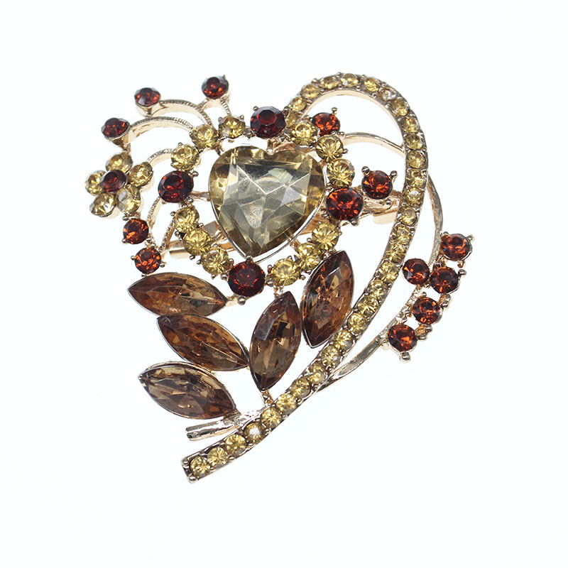 Broche en strass jaune en forme de coeur pour dame fille décoration de fête de mariage grande goutte d'eau broche de sécurité bijoux
