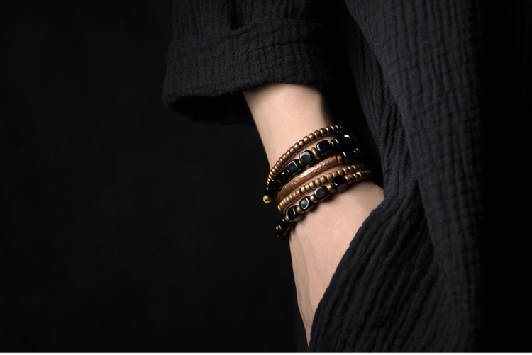 2019-New-Cubic-Black-Obsidian-Multi-row-Bracelet-With-Antique-Finish-Copper-Accessories-Men-Women-Couple-Jewelry-Punk-Street (7)