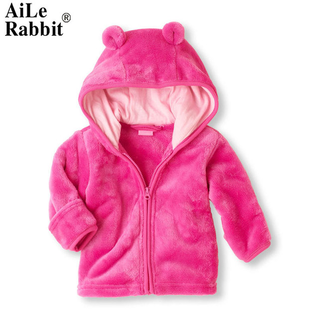 AiLe Rabbit Baby Super of Coral Fleece Infant Hoodie Hooded Coat Three  Color Optional Support A c2d93bae9f45