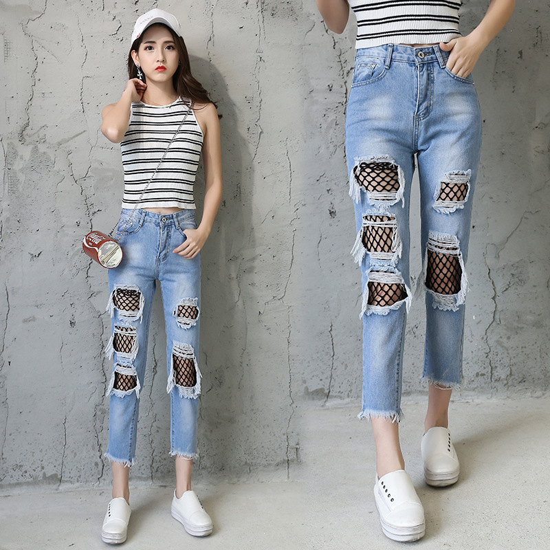 Spring New casual Jeans Women Ankle-Length High Waist Loose Jeans Female Ripped hole fishnet patchwork denim pants Plus Size new summer vintage women ripped hole jeans high waist floral embroidery loose fashion ankle length women denim jeans harem pants