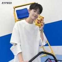 Summer New White Tshirt Men Korean Fashion Loose Ripped Holes Shirt Round Neck Harajuku Streetwear Hip Hop Tee Shirts Tops