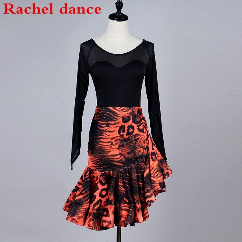 Robe de danse latine à manches longues robes de danse de salon à franges Costume de danse latine robes de danse latine jupes de Tango Samba