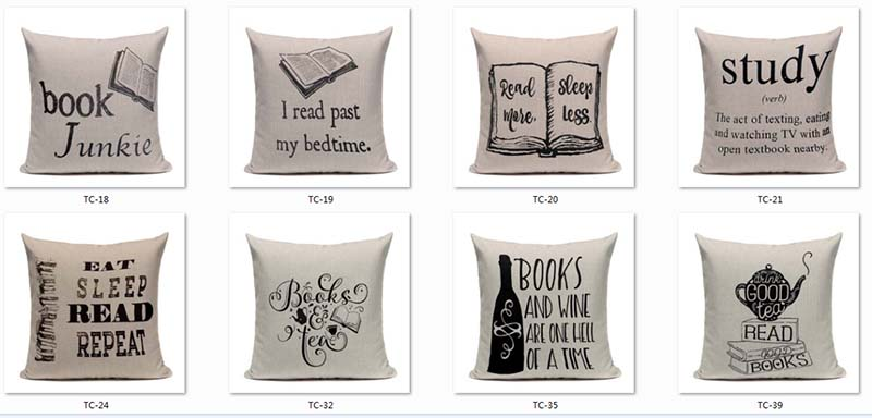 Book Tea Coffee Wine Cushion Cover Cotton Linen Decorative Pillowcase Chair Seat Letter Slang Pillow Cover Home Living Textile 2