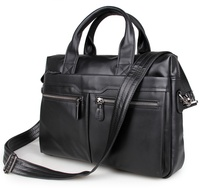 Free Shipping 100 Genuine Leather Men S Black Handbag Messenger Bag Laptop Briefcase 7122A