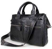цены Free Shipping 100% Genuine Leather Men's Black Handbag Messenger Bag Laptop Briefcase #7122A