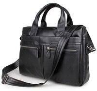 Free Shipping 100 Genuine Leather Men S Black Handbag Messenger Bag Laptop Briefcase 7122A