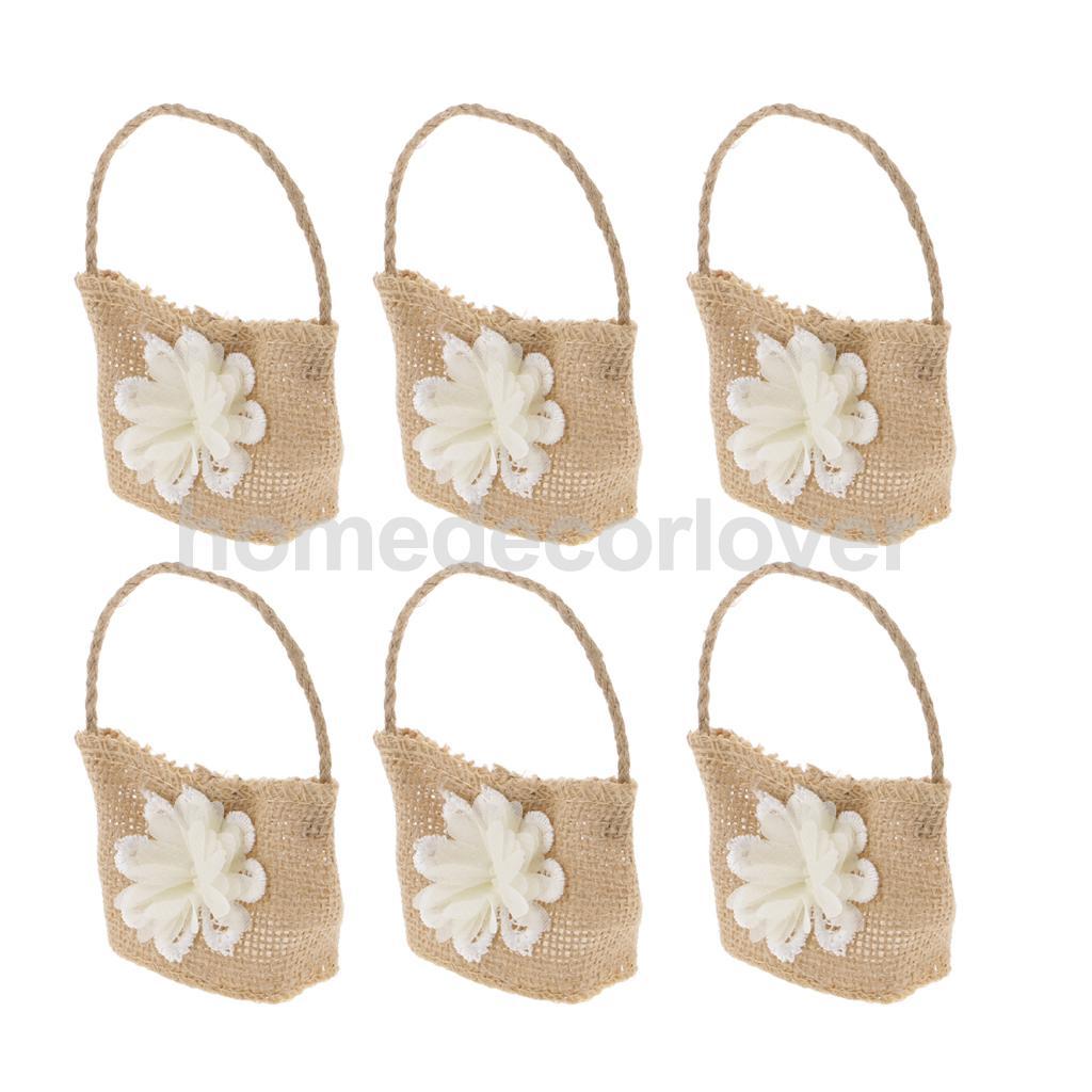 6pcs Hessian Jute Linen Flower Favor Bags Weddings Baby Showers ...