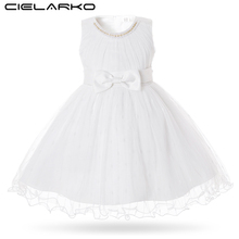 Cielarko White Baby Dress for Birthday Party Sleeveless with Bow Beading Infant Formal Dresses Tulle Fancy Toddler Ball Gown
