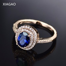 XIAGAO Luxury Big Oval  8 Colors Crystal  Round Double Clear Cubic Zircon 4Prongs Setting Rings For Women Party R288