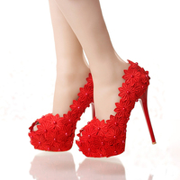 14cm Summer Party Prom Shoes White Lace Peep Toe Pumps High Heel Wedding Evening Party Shoes