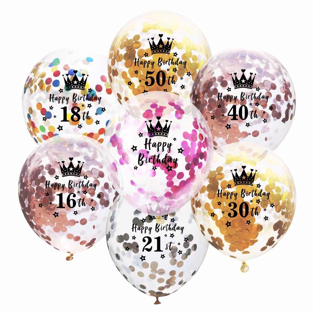 5pcs Happy Birthday Clear Latex Balloon 16 18 21 30 40 50 60 year Anniversary Rose Gold Silver Confetti Party Decor Adult ball