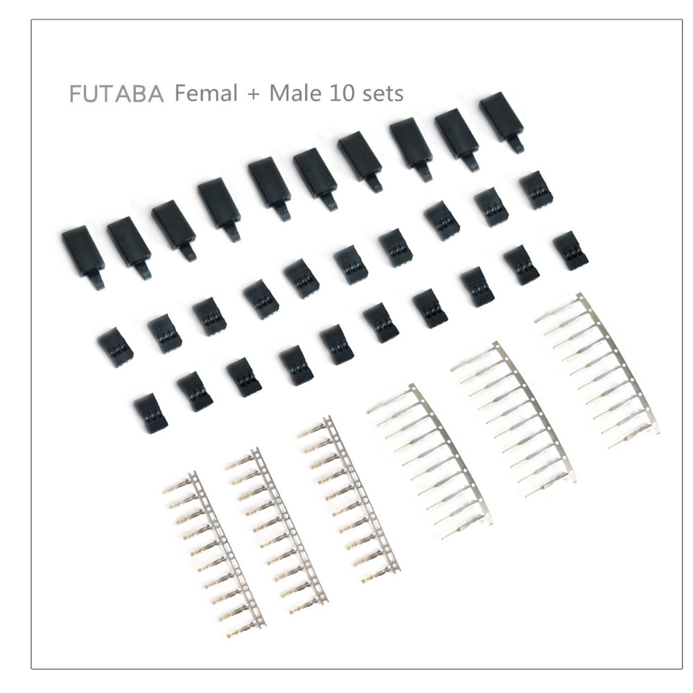 10 Sets DIY 3 Pin Servo Plug Set Female Male Connector Gold Plated For Futaba JR Type RC Airplane Multirotor Quadcopter Plug