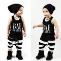 NEW Arrive Toddler kids letters sets Baby Boys Girls Clothes Sleeveless Tops + striped Short Pants Kids Outfits Sets