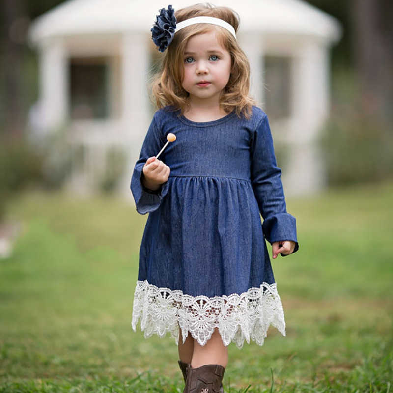 963a5ae7a99 Brand Baby Girls Denim Lace Dresses Children Kids Casual Clothes Long  Sleeve Pattern Dresses 2 to 8 Years Kids Girls Clothing