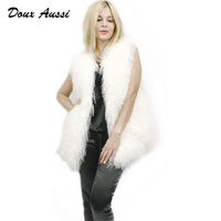 DOUX AUSSI Mongolian Sheep Fur Coats Women Autumn Double Colors Three Quarter Wool Female Overcoat Genuine