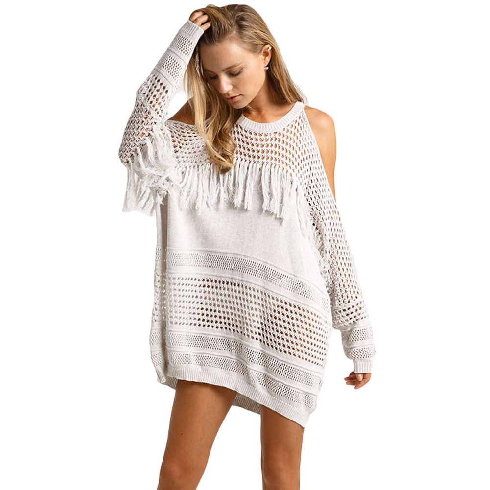 2017 Summer Cold Shoulder Sweater Dress Womens White Knit Dress Sexy Long Sleeve Hollow Out Tassel Detail Loose Mini Dress