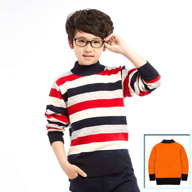 Autumn Winter Baby Boys Girls Kids Children's Warm Turtleneck Sweaters Pullover Cardigans Striped Boys Sweater Clothes Outerwear
