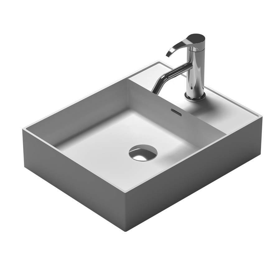 Rectangular bathroom solid surface stone counter top Vesselsink fashionable Corian washbasin RS38338 572