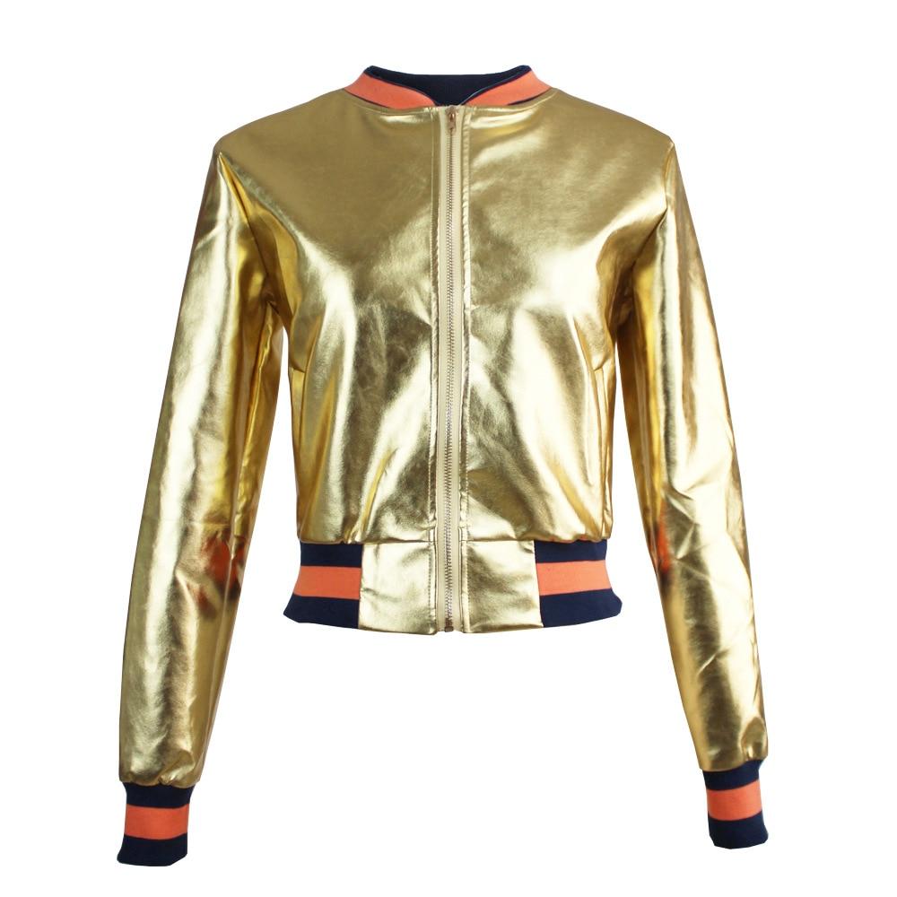 chaqueta de la capa del collar de oro mujeres bomber jacket uniforme corto PU c
