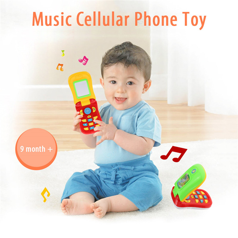 Kids Phone Childrens Educational Simulation Music Mobile Toy Phone for Child Birthday Gift Toy Phones with MirrorRP60