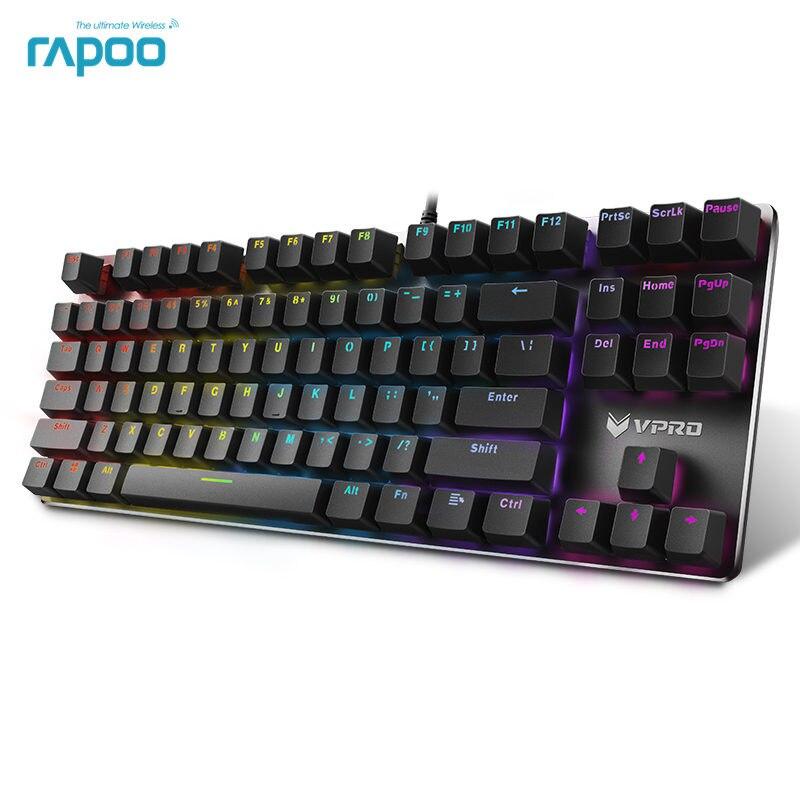 Rapoo механическая клавиатура V500 RGB светодио дный игровой клавиатурой с подсветкой полный ключи программируемый anti-ореолы PC Gamer