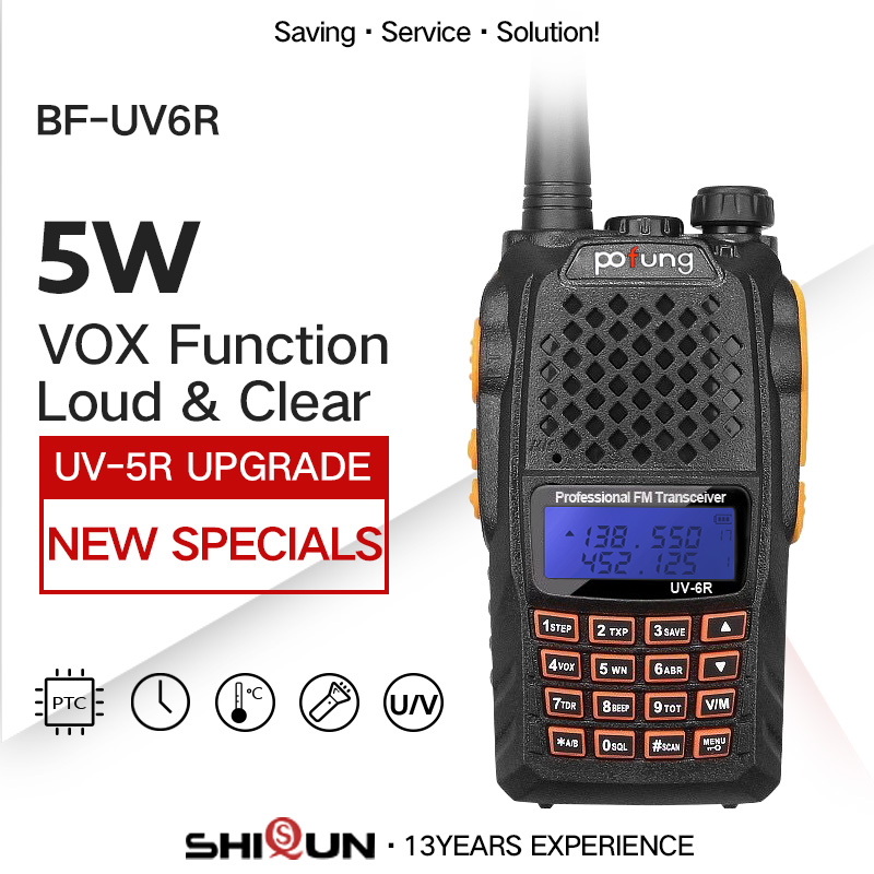 Baofeng UV-6R Walkie Talkie 5W Radio UHF VHF Dual Band UV 6R CB Radio Upgrade Of UV-5R Baofeng Talkie HF Transceiver For Hunting