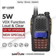 Baofeng UV 6R Walkie Talkie 5W radyo UHF VHF çift bant UV 6R CB radyo yükseltme UV 5R Baofeng Talkie HF telsiz avcılık için