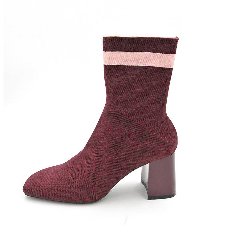 Women  High Heels Sock Boots Fall Burgundy Elastic Pull on Ankle Booties Stretch Fabric Knitted Block Heels Pumps Dress Shoes fashion kardashian ankle elastic sock boots chunky high heels stretch women autumn sexy booties pointed toe women pumps botas
