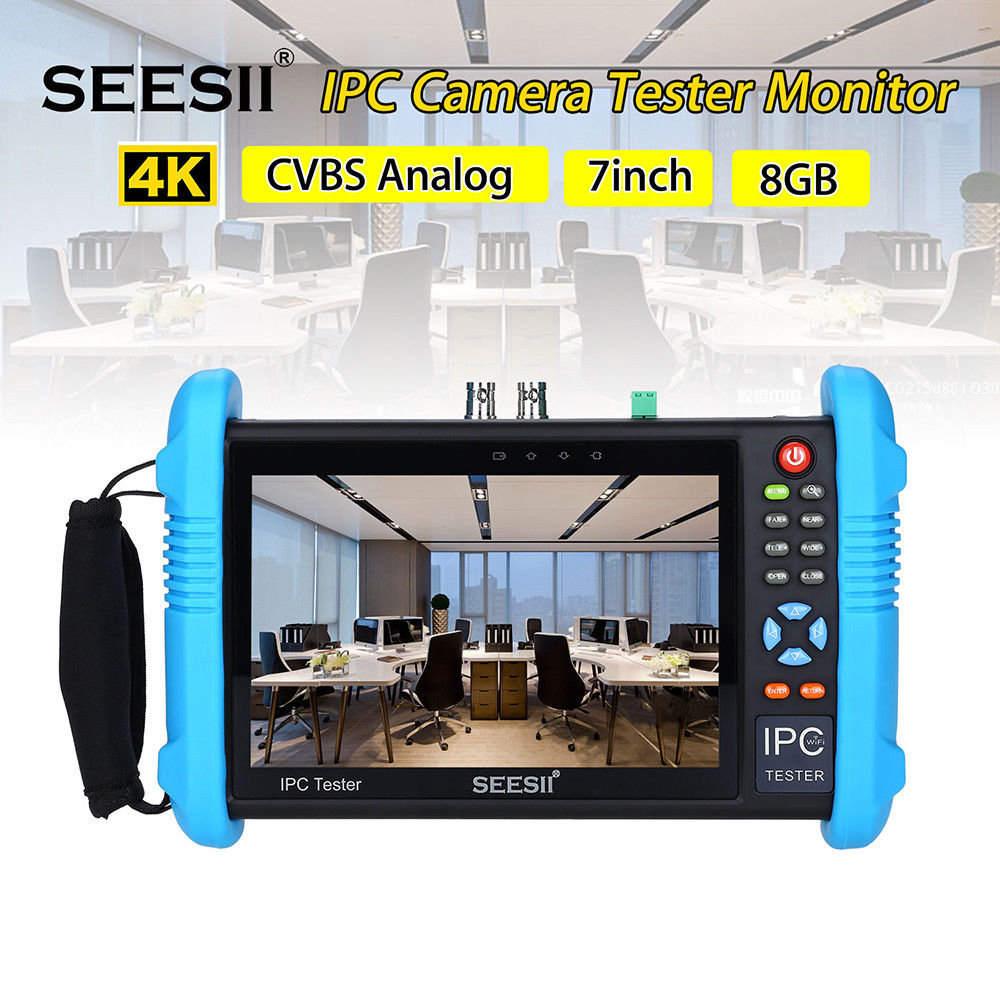 """SEESII 9800PLUS 7"""" IP Touch Screen Camera Tester 4K 1080P IPC CCTV Monitor CVBS Video Audio POE Test HDMl Output Discovery 8GB"""