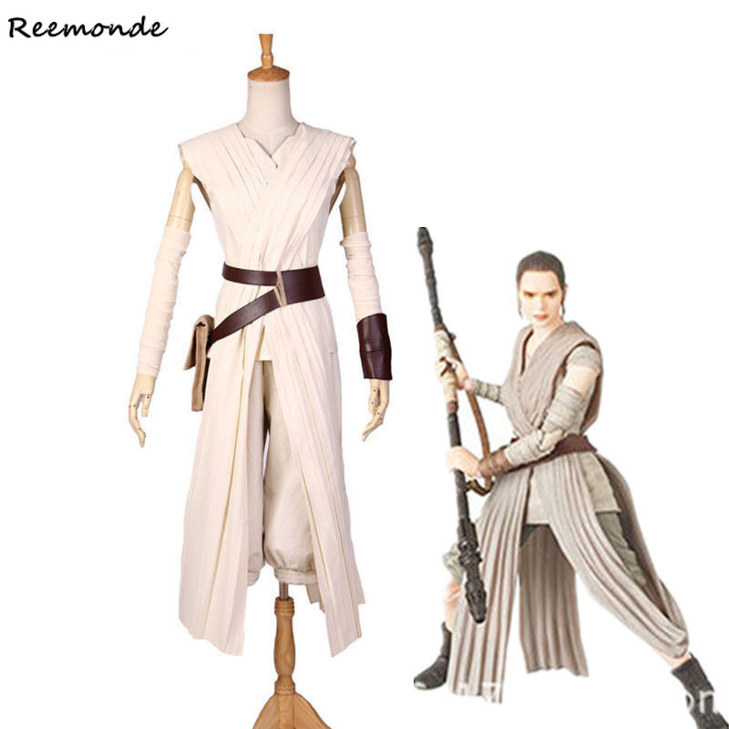 Movie Star Wars The Force Awakens Cosplay Costume Rey Top Pants Full Set Dress Costumes For Adult Woman Girls Carnival Party