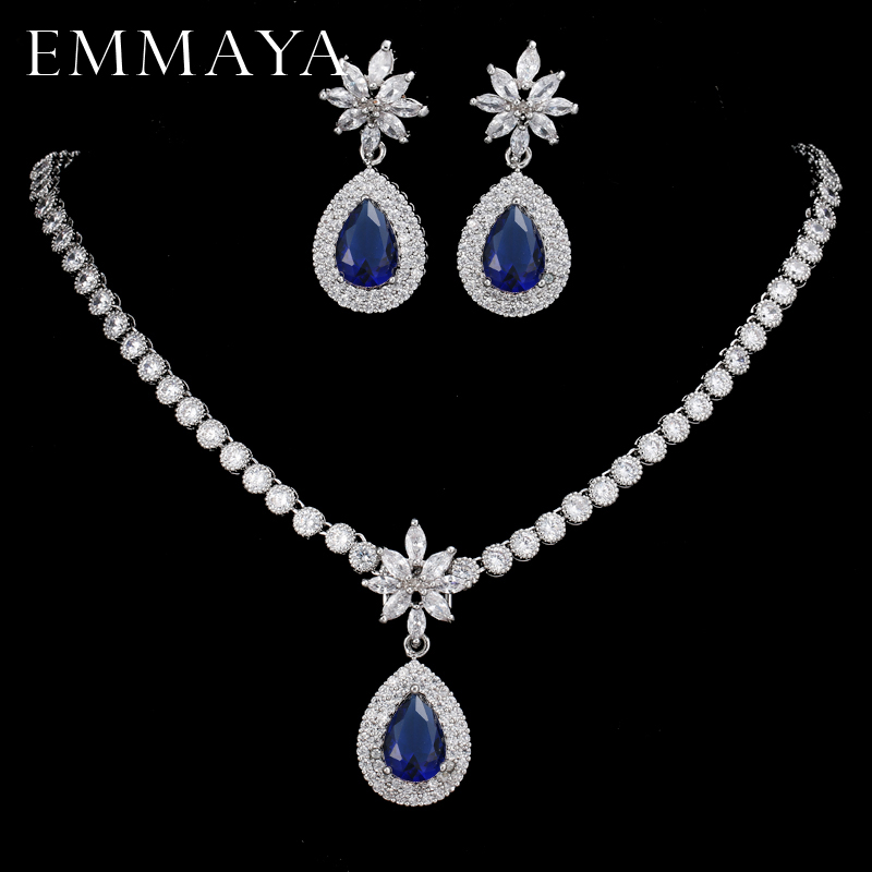 EMMAYA Luxurious CZ Stones High Quality Shiny Bride Jewelry Sets Blue Cz Necklace + Earrings cz h37s