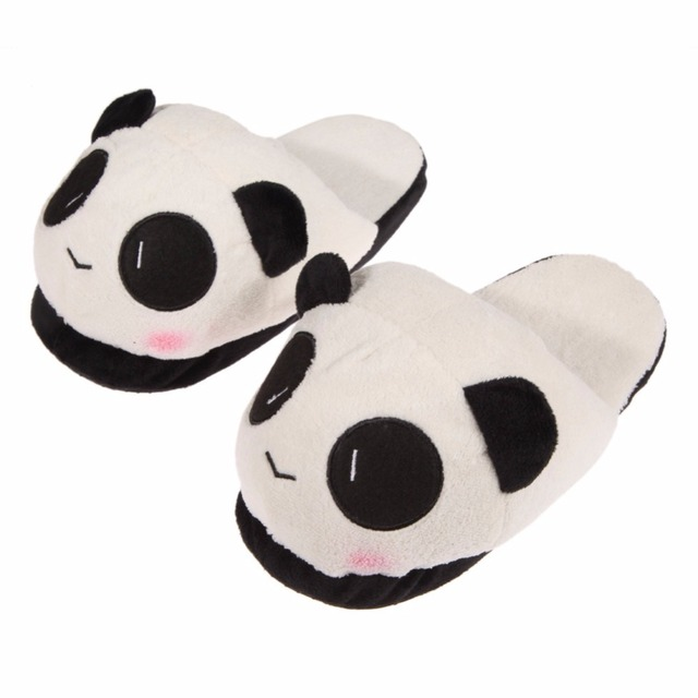 Winter Cute Panda Eyes Women Slippers Lovely Cartoon Indoor Home Soft Shoes