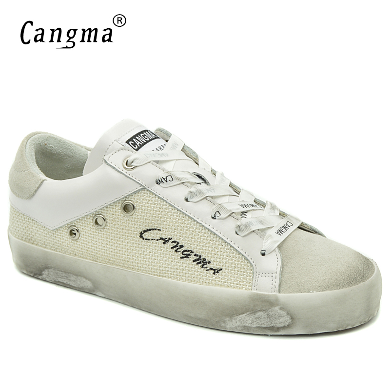CANGMA Italy Girls Flats Breathable Shoes Autumn Woman White Gray Hemp Vintage Sneakers Women Casual Shoes Big Size Zapato 2017