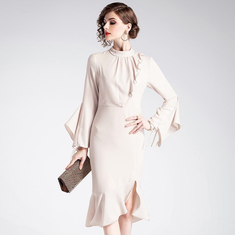 0f78957b7919 Irregolare Della Basamento Apricot Increspature Sottile Collare Vestito  2019 Modo Lunga Manica Da Di Donne Elegante ...