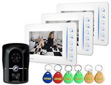 """7 """"Táctil TFT Monitor en Color 700TVL Cámara Video de la Puerta Sistema de Intercomunicación Teléfono Con Función de Timbre de la puerta RFID Keyfob 4CH-Monitor"""