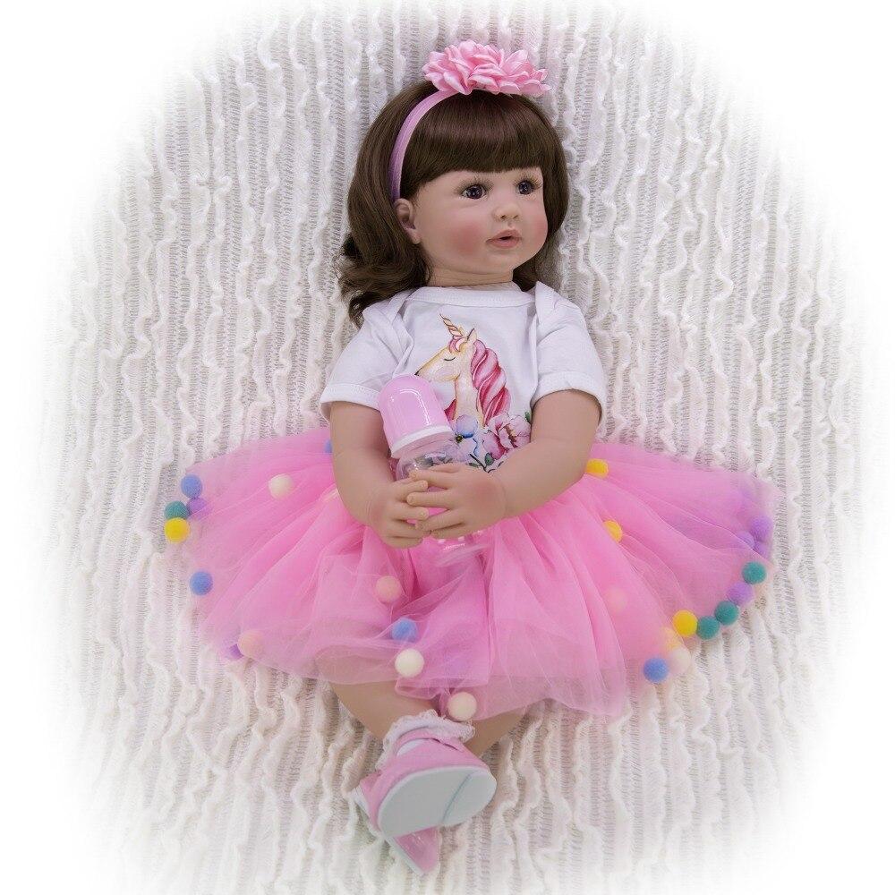 60cm vivant Art fait à la main bebe poupée Silicone Reborn réaliste fille poupée Reborn bébé toucher doux enfants jouets cadeau bambins vente