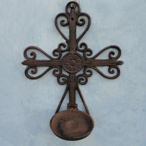 Винтаж в деревенском стиле ретро потертый шик Большой крест Дизайн античная ржавчина железа настенный подсвечник