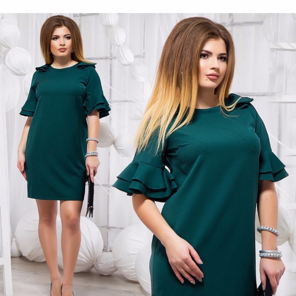 Big Size Ruffles Flare Sleeve Summer Dress 2018 Women Short Sleeve O Neck Mini Straight Dress Plus Size