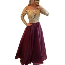 Hot Sale Ball Gown Long Sleeve Burgundy Organza Lace Beaded Evening Dresses 2016 Robe De Soiree Dress Custom made Party dresses