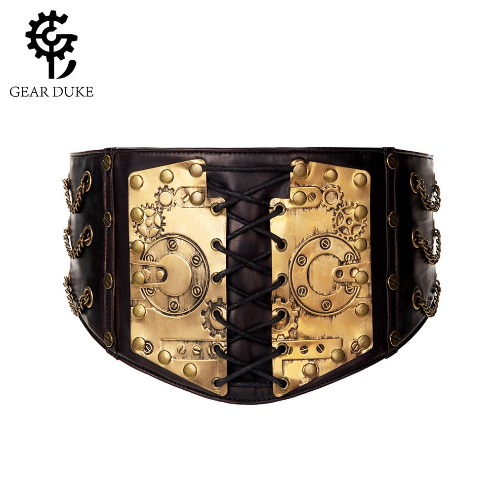 Gear Duke fashion belts Women Ladies Gothic Steampunk Cincher Lace up Waistband vintage Waist Cincher classic wide Elastic Waist-in Men's Belts from Apparel Accessories